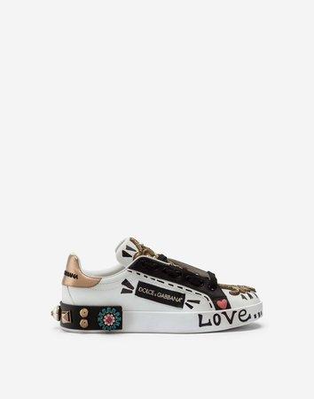Printed Nappa Calfskin Portofino Sneakers With Embroidery