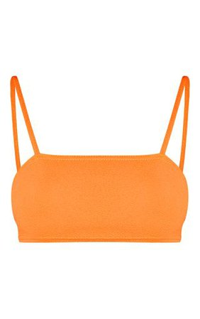 Orange Strappy Bandeau Crop Top