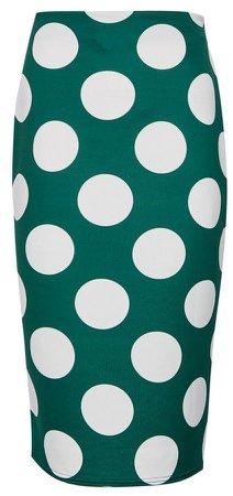 Green Spot Print Pencil Skirt