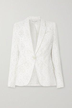 White Cotton-blend guipure lace blazer | Alexander McQueen | NET-A-PORTER
