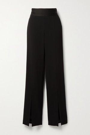 Satin-trimmed Crepe Wide-leg Pants - Black