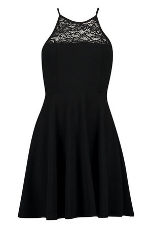 Lace Insert Skater Dress | boohoo