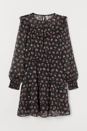 Patterned Chiffon Dress - Black