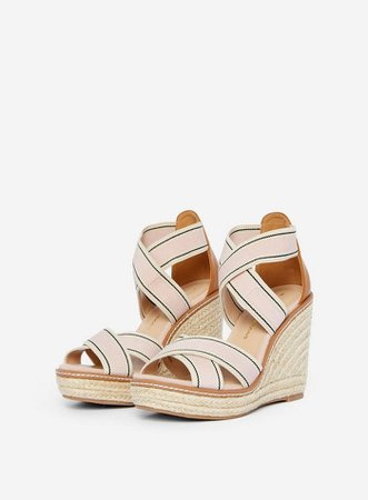 Pink 'Reel' Elastic Wedge Sandals | Dorothy Perkins