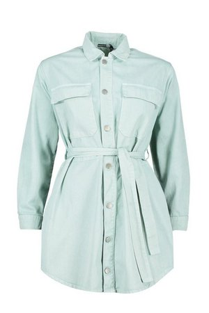 Tie Pocket Front Utility Shirt Dress | Boohoo