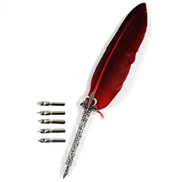 Zoohot Nature Feather Pen and 5 Calligraphy Nibs, Best Gift & Dip Pen For All, Red: Amazon.ca: Office Products