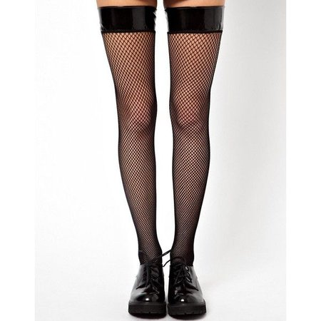 Leg Avenue Vinyl Top Fishnet Stockings ($14) ❤ liked on Polyvore featuring intimates, hosiery, tights, legs, doll parts, socks, ac… | My Polyvore Finds | Pinte…