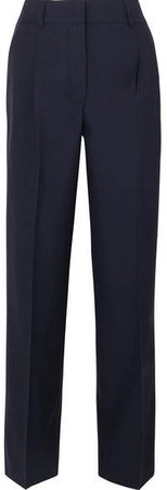 CASASOLA - Pleated Wool Tapered Pants - Navy