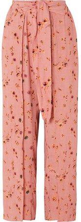 Tiki Tiki Floral-print Crinkled-crepe Wide-leg Pants - Antique rose