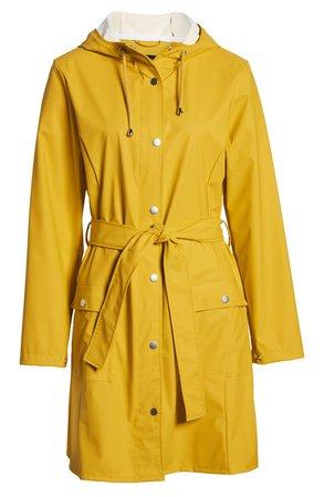 Halogen® Waterproof Hooded Rain Jacket yellow
