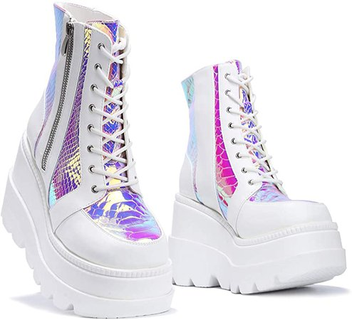 Amazon.com | Cape Robbin Radio Holographic Platform Ankle Boots with Chunky Block Heels for Women | Ankle & Bootie