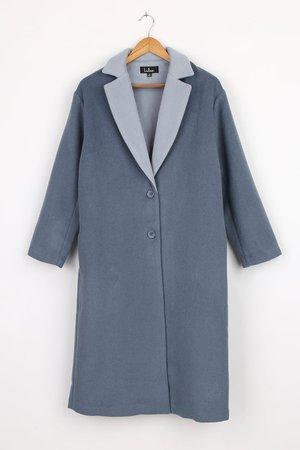 Denim Blue Coat - Long Coat - Wool Coat - Long Sleeve Coat - Lulus