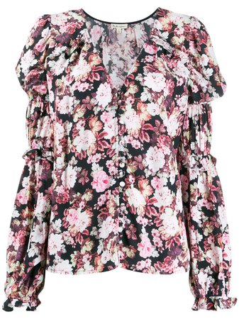 For Love And Lemons Gathered Sleeves Floral Blouse