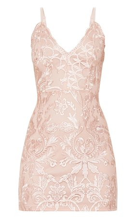 Dusty Pink Embroidered Lace Plunge Dress | PrettyLittleThing
