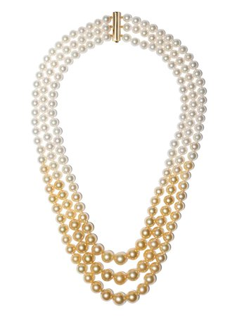 Yoko London 18kt Yellow Gold Ombré Golden South Sea And Akoya Pearl Necklace - Farfetch