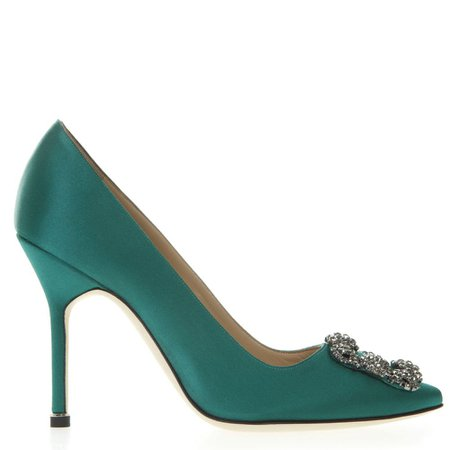 Manolo Blahnik Hangisi Green Satin Pumps