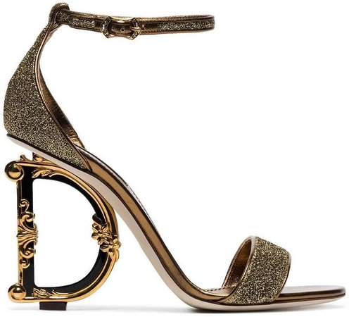gold-tone metallic 105 logo heel sandals