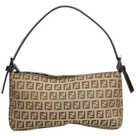 Fendi Brown Beige Canvas Fabric Zucchino Baguette Italy For Sale at 1stdibs