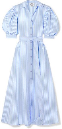 Evi Grintela - Valerie Belted Striped Cotton-poplin Maxi Dress - Blue