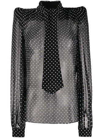 Black & white Saint Laurent polka dot sheer blouse - Farfetch