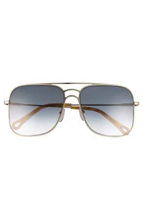 Chloe   58mm Square Aviator Sunglasses   Nordstrom Rack
