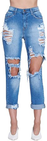 Little Vintage Girls Vibrant Classic Mom Jean Distressed Ripped Capri Roll Up Blue Fade at Amazon Women's Jeans store