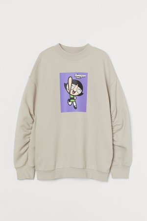 Oversized Sweatshirt - Beige/The Powerpuff Girls - Ladies | H&M US