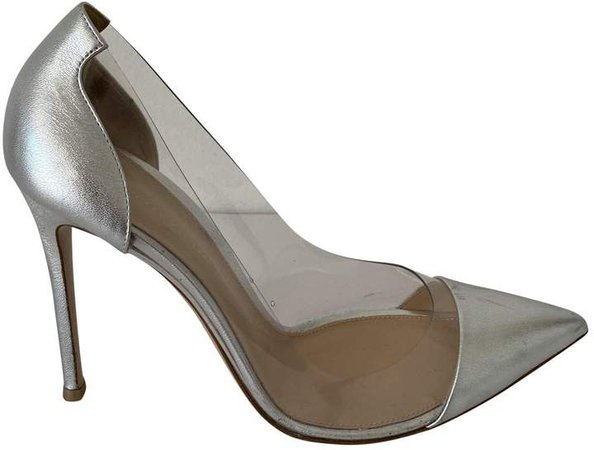 Plexi Silver Leather Heels
