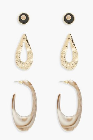Hammered Marble Earring Pack | Boohoo Gold