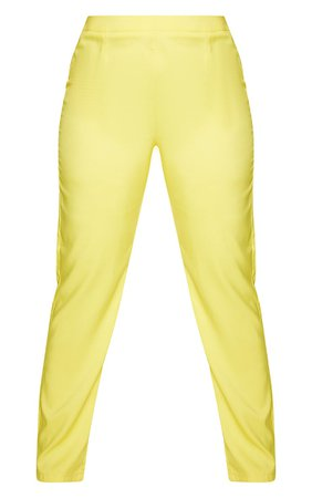 Plus Bright Yellow Tapered Straight Leg Trouser   PrettyLittleThing