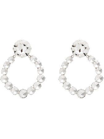 Alessandra Rich Silver Plated Crystal Hoop Earrings - Farfetch