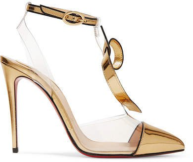 Alta Firma 100 Appliquéd Pvc And Metallic Leather Pumps - Gold