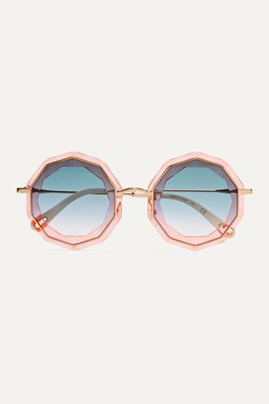 Pink Round-frame gold-tone and acetate sunglasses | Chloé | NET-A-PORTER
