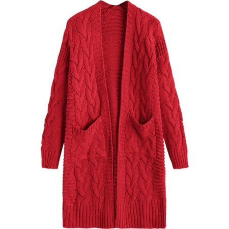 Cable Knit Longline Cardigan With Pockets Deep Red