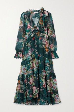 Zimmermann | Tiered ruffled floral-print silk-chiffon midi dress | NET-A-PORTER.COM