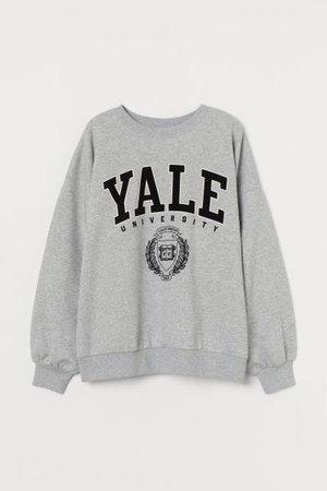 Printed Sweatshirt - Light gray melange/Yale - Ladies | H&M US