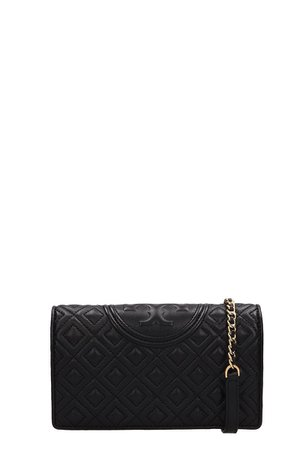 Tory Burch Black Quilted Leather Fleming Wallet