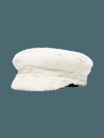 Ruslan Baginskiy White Faux Fur Baker Boy Hat