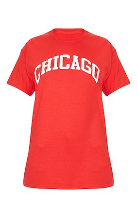 Red Chicago Slogan Oversized T Shirt | Tops | PrettyLittleThing USA