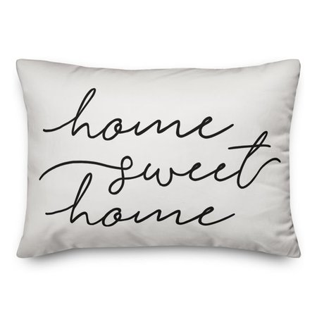 "Designs Direct ""Home Sweet Home"" Oblong Outdoor Throw Pillow in White/Black 