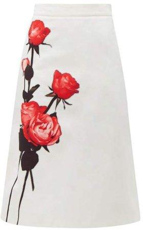 Divisa A Line Cotton Midi Skirt - Womens - White Print