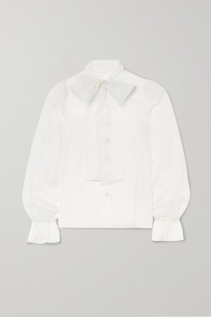 Pussy-bow Silk-organza Blouse - White