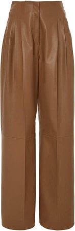 Agnona Pleated Leather Wide-Leg Pants