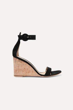 Portofino 85 Suede Wedge Sandals - Black