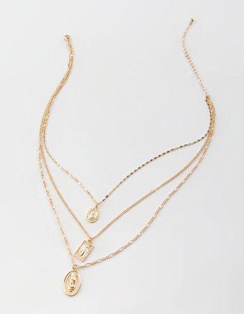 FULL TILT Layered Mary Pendant Necklace - GOLD - CR0591021 | Tillys