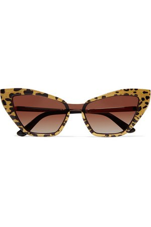 Dolce & Gabbana | Cat-eye glittered leopard-print acetate and gold-tone sunglasses | NET-A-PORTER.COM