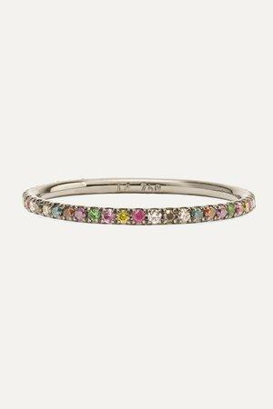 White gold Thread 18-karat blackened white gold multi-stone ring | Ileana Makri | NET-A-PORTER