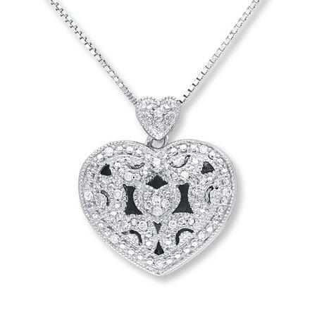 Heart Locket Necklace 1/10 ct tw Diamonds Sterling Silver