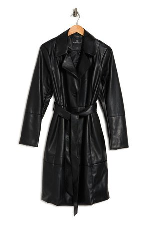 Faux Leather Belted Trench Coat   Nordstromrack