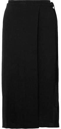 Crepe Midi Wrap Skirt